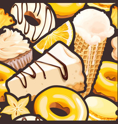 Seamless pattern with white and yellow sweets vector