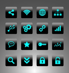 set cyan icons - technology web and business vector image