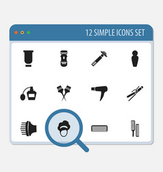 Set of 12 editable coiffeur icons includes vector