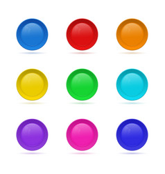 Set of blank round button for website 3d glass vector