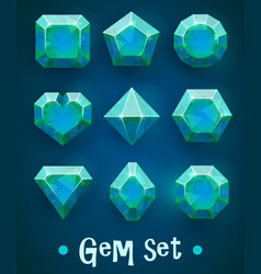 Set of realistic blue gems of various shapes vector