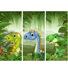 Set of three cartoon dinosaurs vector