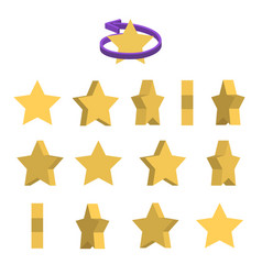 sheet of sprites rotation of cartoon yellow star vector image