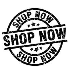 Shop now round grunge black stamp vector