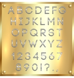 Silver coated alphabet letters digits and vector