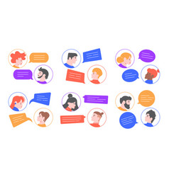 speaking people men and women profile avatars vector image