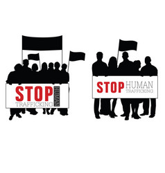 Stop human trafficking with people silhouette vector