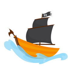 stylized cartoon pirate ship with vector image
