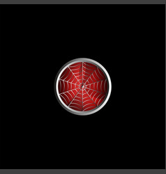 stylized spider web on red background creative vector image