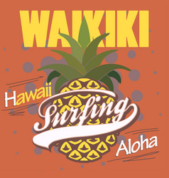 surfing t-shirt graphic design hawaii print stamp vector image