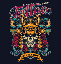 Tattoo convention in tokio colorful poster vector