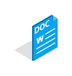 Text file format DOC icon isometric 3d style vector