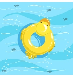 Toy Inflatable Duck Ring With Blue Sea Water On vector image vector image
