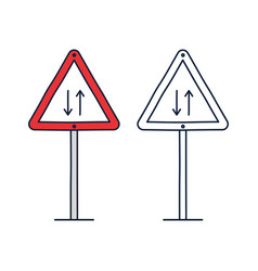 Triangle traffic sign for two way two-ways vector