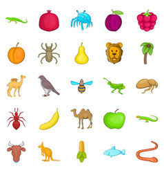Tropics icons set cartoon style vector