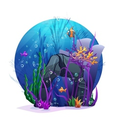 Underwater rocks with seaweed and fish fun vector