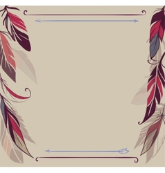 Vintage background with hand drawn feathers vector image
