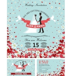 Wedding invitation setBride groomfalling hearts vector image