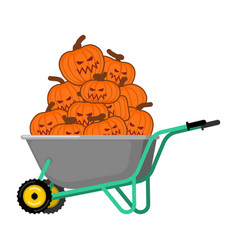 wheelbarrow halloween bunch of terrible pumpkins vector image