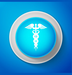 white caduceus medical symbol icon vector image