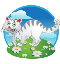 White fun cat on color background vector image