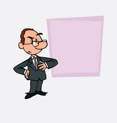 Worried white businessman with glasses is showing vector