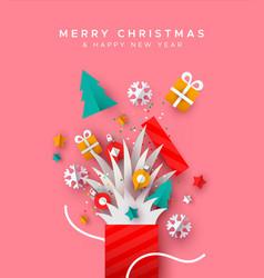 year holiday paper cut gift box card vector image