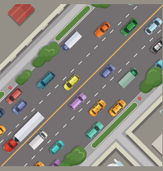 city road with cars with buildings grass vector image vector image