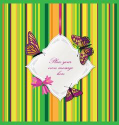 flower frame greeting card border decor floral vector image vector image