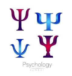 Modern logotype sign set of psychology psi vector