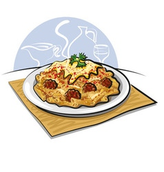 Pasta and meatballs vector