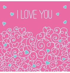 Pink greeting card with floral heart shape I love vector image