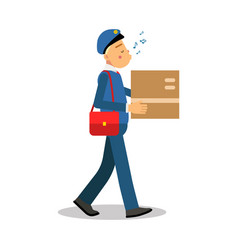 postman in blue uniform delivering cardboard box vector image vector image