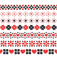 set of seamless card suits ribbons vector image vector image