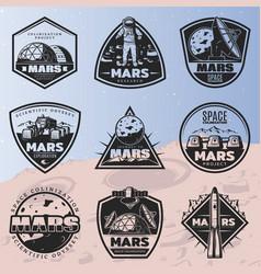 black vintage space discovery labels set vector image