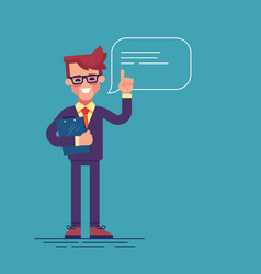 businessman raising up his finger to give advice vector image