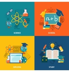 Education Flat Set vector image vector image