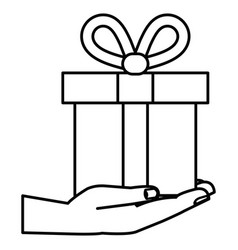 hand with gift box present icon vector image
