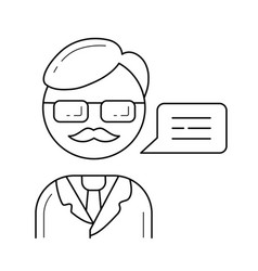 professor line icon vector image vector image