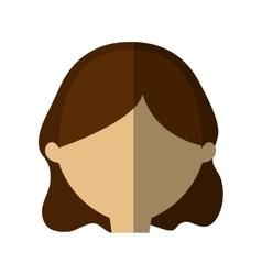 avatar woman face brunette hair shadow vector image