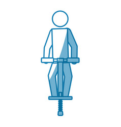 Blue line pictogram man jumping with a pogo stick vector