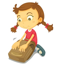 Girl Packing School Bag vector image