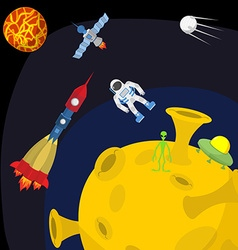 Space landscape Moon and alien UFO and rocket vector image vector image