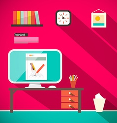 Studying Room - Office with Computer and Table vector image vector image