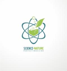 Unique symbol design with leaf and atom vector image vector image