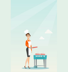 Woman cooking steak on barbecue grill vector