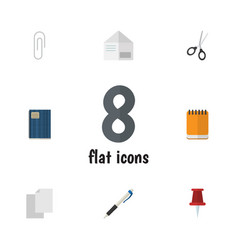 Flat icon stationery set of copybook notepaper vector