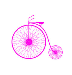 pink silhouette of vintage bicycle vector image vector image
