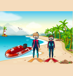 two scuba divers and boat in the sea vector image vector image