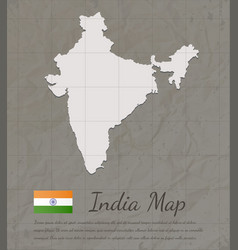 vintage india map paper card map silhouette vector image